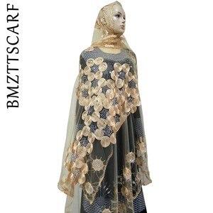 Image 2 - Écharpes africaines pour femmes musulmanes, écharpe en filet brodée, écharpe transparente de conception circulaire pour châles, BM02, nouvelle collection
