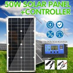 50W Pannello Solare Doppia Uscita USB Celle Solari Poli Pannello Solare 10/20/30/40/ 50A Controller per Auto Yacht 12V Barca Batteria del Caricatore