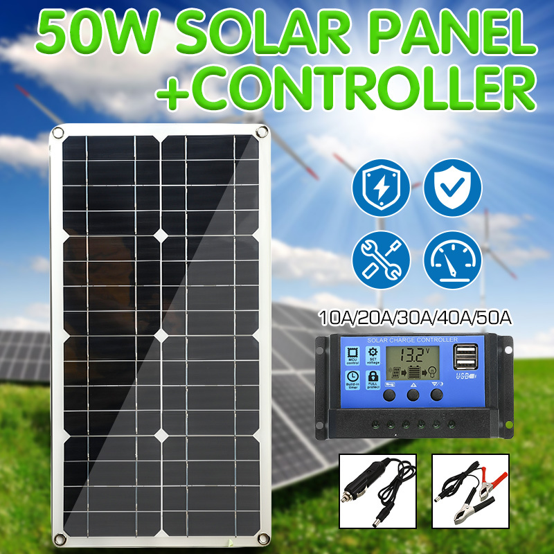 50W Solar Panel Dual USB Output Solar Cells Poly Solar Panel 10/20/30/40/50A Controller for Car Yacht 12V Battery Boat Charger image