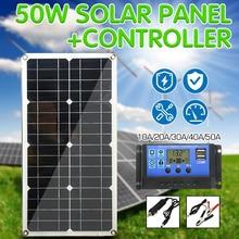 Pannello solare 50W Dual USB di Uscita Celle Solari Poli Pannello Solare 10/20/30/40/50A Controller per Auto Yacht 12V Barca Batteria del Caricatore