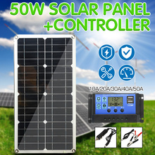 Solar Panel 50W Dual USB Output Solar Cells Poly Solar Panel 10/20/30/40/50A Controller for Car Yacht 12V Battery Boat Charger