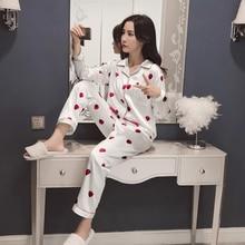 Strawberry print satin pajamas Ladies silk home service Sleepwear sets Small turndown long sleeve shirt+trousers nightshirt цена