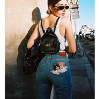 Cosmicchic 2019 Women Vintage High Waist Jeans Twin Angel Print Slim Pencil Pants Casual Denim Jean Femme