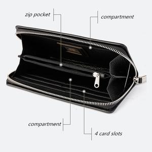 Image 5 - BISON DENIM en cuir véritable portefeuille hommes marque de luxe téléphone portefeuille fermeture éclair pièce longue sac à main grande entreprise mâle portefeuille N8252