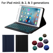 USA Tastatur Für iPad Mini 1/2/3 7 Farben Tablet Backlit 3,0 Bluetooth USA Tastatur mit Feinen schafe Muster Leder Fall Stift Slot(China)