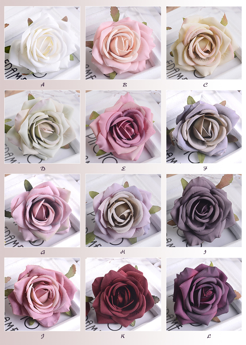 JAROWN Artificial Silk Roses Flowers Scrapbook Wedding Home Decor DIY Gifts Box Christmas Garlands Household Products Fake Flowers (111)