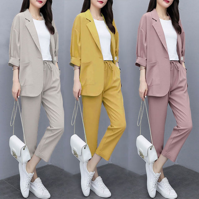Two-piece 2021 new small suit jacket large size Korean version of loose slim casual suit suit women 2