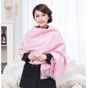 Image 5 - White 4Ply 100% Wool Solid Color Womens Autumn Winter New Fashion Thick Tassel Shawl Scarf Wrap Warm 19 Colors 200*70cm 011502