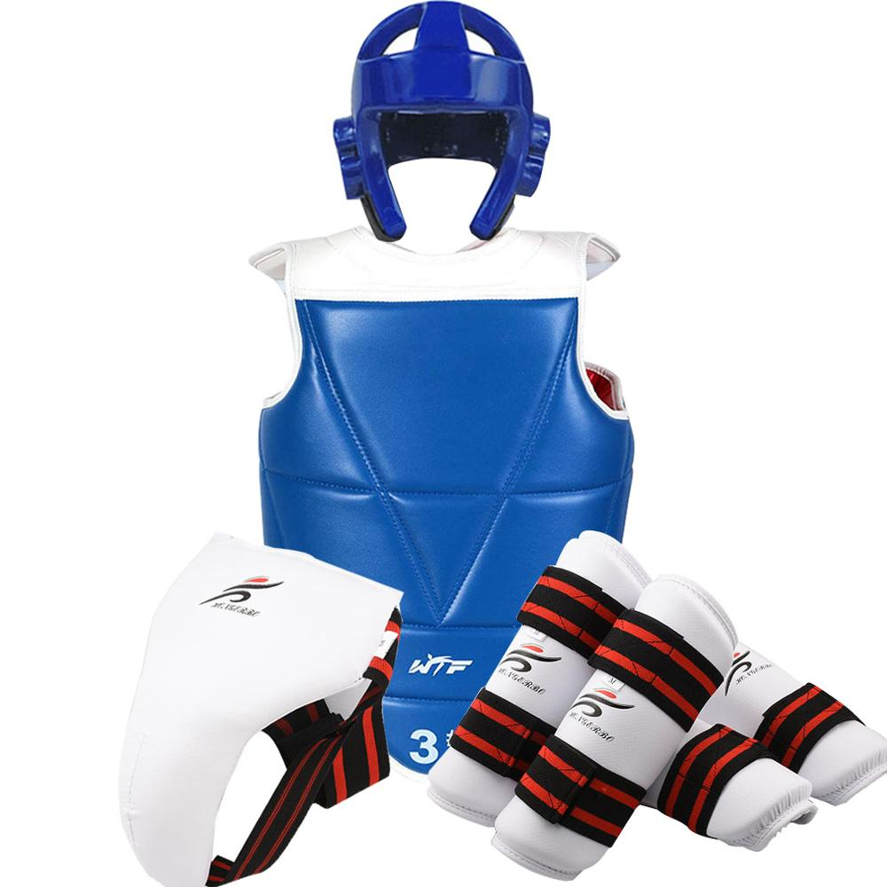 Protector-Set Taekwondo-Helmet Shin-Guard Boxing Karate Gear Training-Equipment Kids