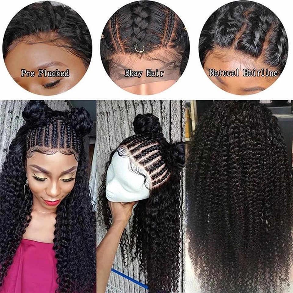 Afro kinky encaracolado 13x4 perucas da parte dianteira do laço com o cabelo do bebê pré-arrancado kinky encaracolado perucas do cabelo humano da parte dianteira do laço nós lixívia remy lwigs