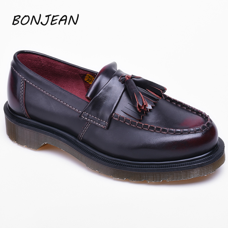 Bonjean 2019 New Loafers Genuine Leather Tassel Shoes Men And Women Flat Casual Shoes Mens Loafers Luxury Driving Soft Footwear