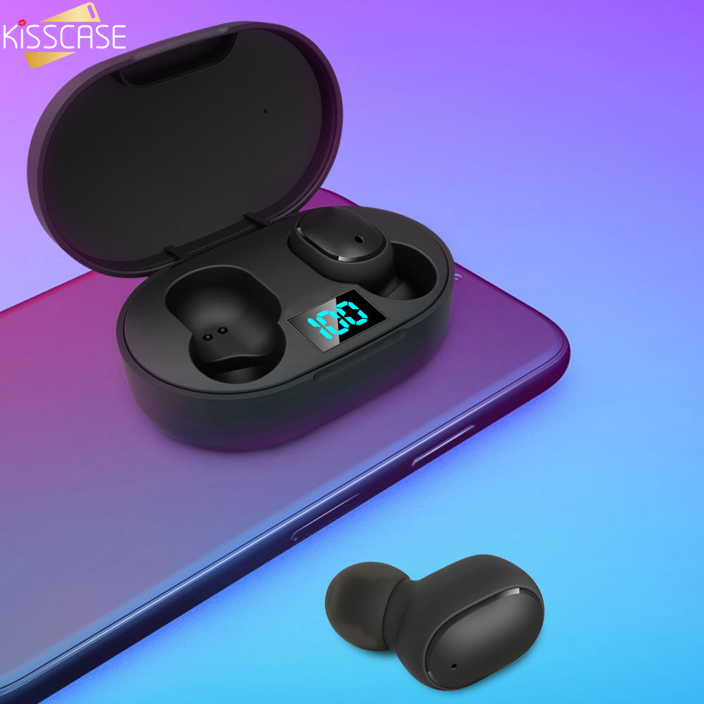 KISSCASE Smart Digital Mini Wireless Bluetooth 5.0 Earphone Sports Headset E6S HIFI Stereo Earbuds IPX4 Waterproof Headphones