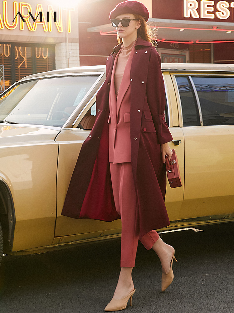 Image 2 - Amii Spring  Temperament Professional Three Piece set Women  New Nine point Suit pants and lapel suit coat  11940447Womens Sets   -