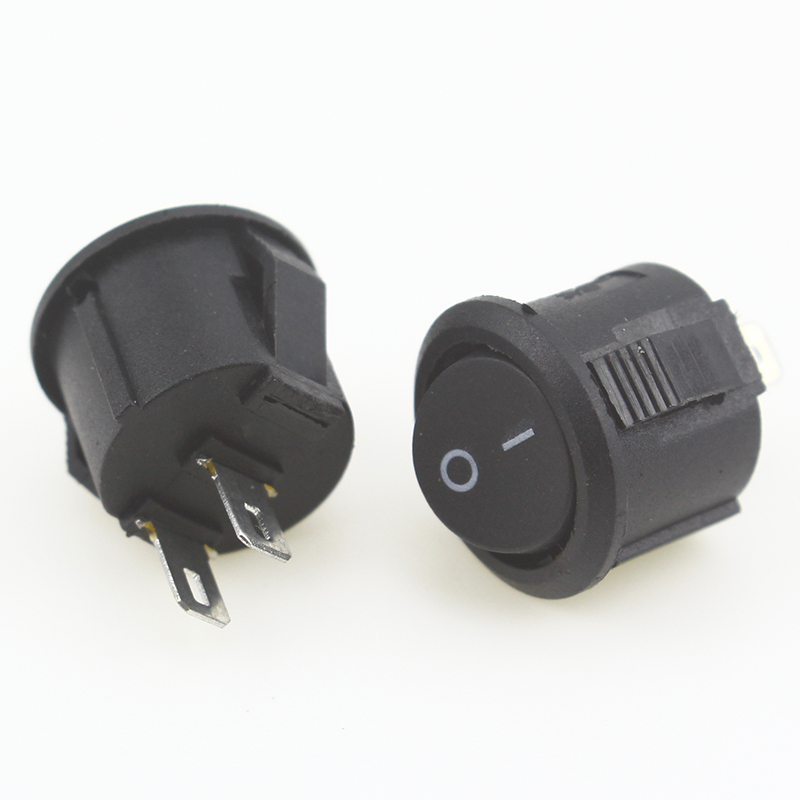 5pcs/10pcs 16mm Diameter Small Round Boat Rocker Switches Black Mini Round Black White Red 2 Pin ON-OFF Rocker Switch