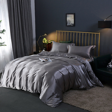 Bedding-Set Luxury Bed-Sheet Duvet-Cover Queen Double-Bed 100%Satin Pillowcase Single