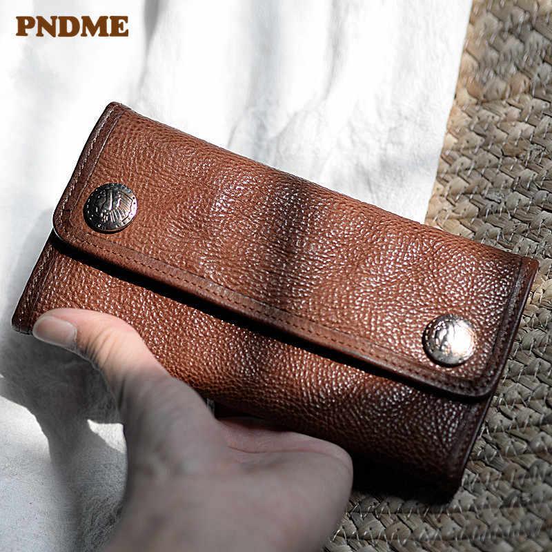 PNDME мужской клатч из натуральной кожи в стиле ретро, дизайнерский Роскошный кошелек из натуральной воловьей кожи, Женский кошелек с держателем для карт
