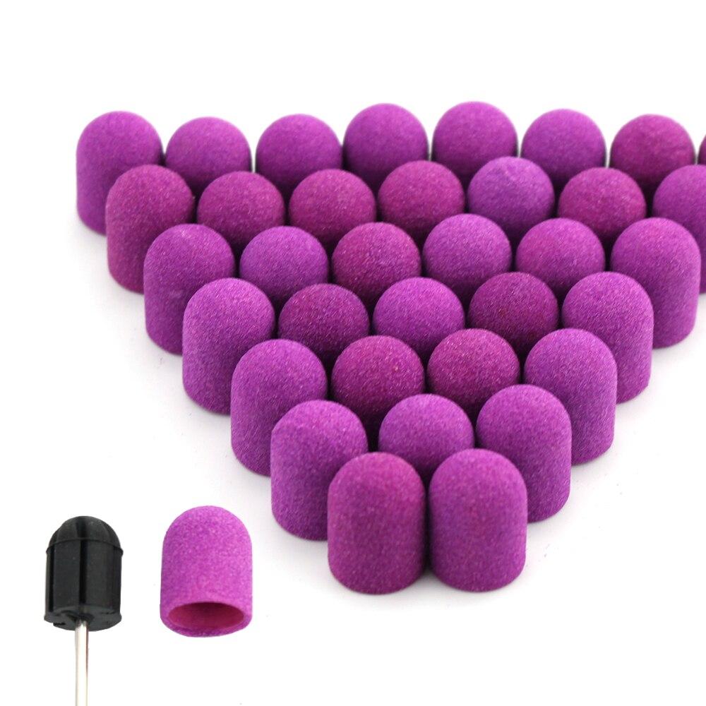20 шт. 10*15/13*19 фиолетовых колпачков для шлифования ногтей с резиновым гелем для удаления фрез, сверла для педикюра, инструменты для кутикулы, а...