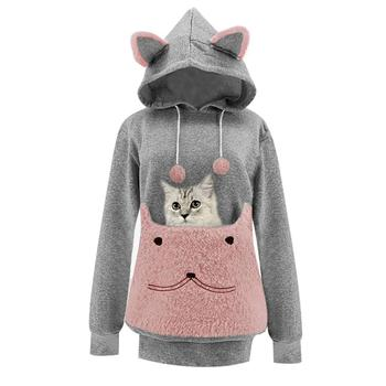 Womens Plus Size Autumn Winter Sweatshirt And Hoody Pocket Cat  Nest Plush Embroidered Top Fashion Casual  Female Coat Pullover cut and sew panel pocket decoration coat