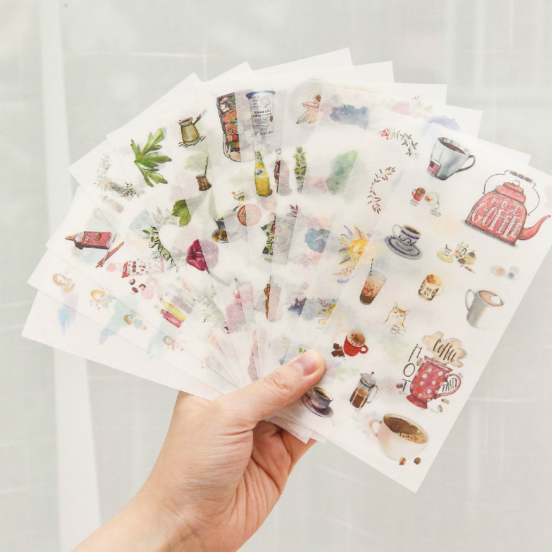 6 Pcs/set Bullet Journal Stickers Kawaii Unicorn Stickers Japanese Watercolor Painted Decoration Girls Stickers Scrapbooking
