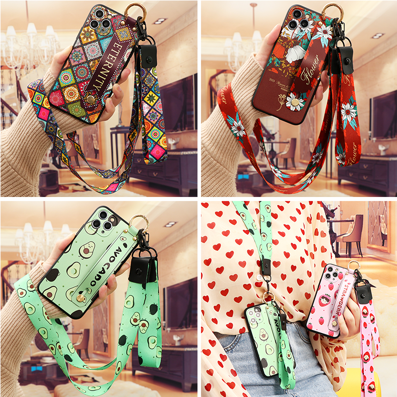 Wrist Strap Case For iPhone 12 mini 11 11Pro SE 2020 7 8 Plus 6 6s 5 For iPhone 12 11 Pro X XR XS Max Flower Neck Lanyard Etui