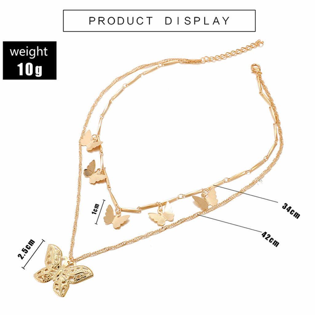 Catena Della Collana in Oro Rosa Collana Accessori di Abbigliamento 2020 Donne a Più Strati Della Farfalla Conveniente Collocazione Della Clavicola