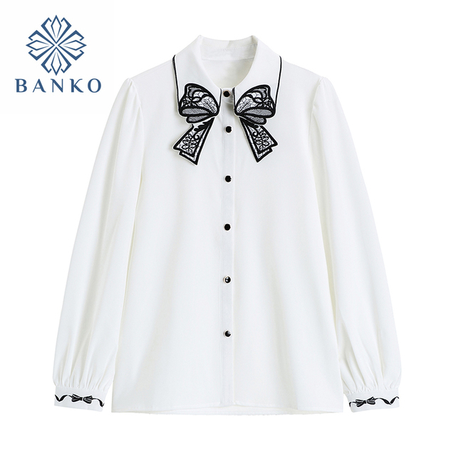 Embroidery Blouse For Women Button Up Shirt Lady Spring 2021 White Chiffon Long Sleeve Cardigan Elegant Casual Chic Blusas Top 1