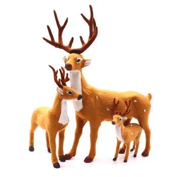 1pcs Christmas Xmas Elk Doll Plush Simulation Deer For Home Christmas New Year Kids Gift Photo Props Navidad christmas xmas elk display window new year ornament simulation deer decorations reindeer simulated toy kids gift