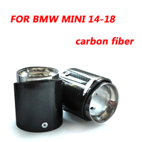 For BMW MINI 14 18 Steel End Carbon Fiber Pipe Car Exhaust Muffler Tip Pipe 2 PIECES