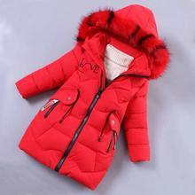 Chaquetas de plumas para niñas, ropa cálida para exteriores para bebés, abrigos gruesos a prueba de viento, chaquetas de invierno para niños, ropa de abrigo con cuello de piel de color