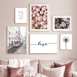 Wall Art Canvas Painting Tram Rose Dandelion Love Quotes Nordic Posters And Prints Landscape Wall Pictures For Living Room Decor