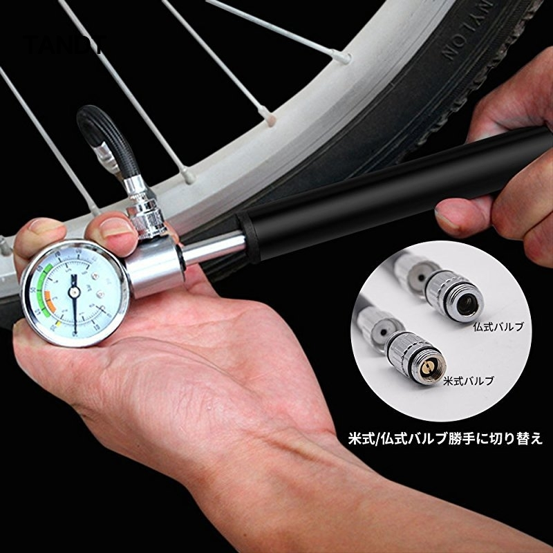 Portable mini self inflator pump high pressure bicycle hand pump with pressure gauge tire inflator bicycle accessories in Bicycle Pumps from Sports Entertainment