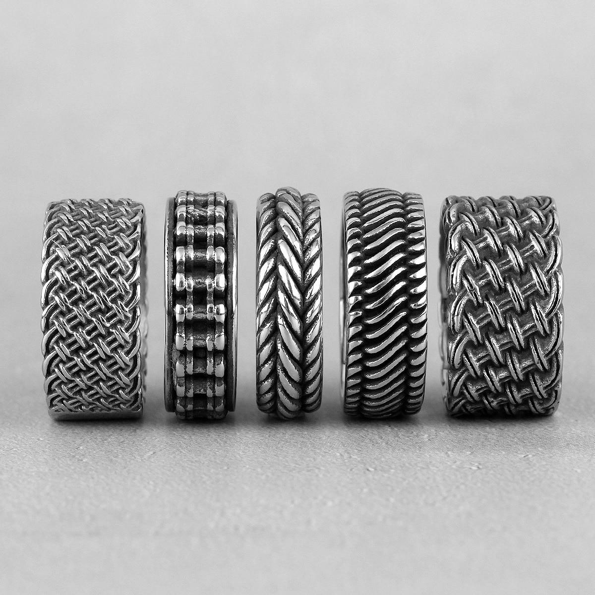 Grade tecer anéis de aço inoxidável dos homens retro estilo industrial simples para namorado masculino biker jóias criatividade presente atacado