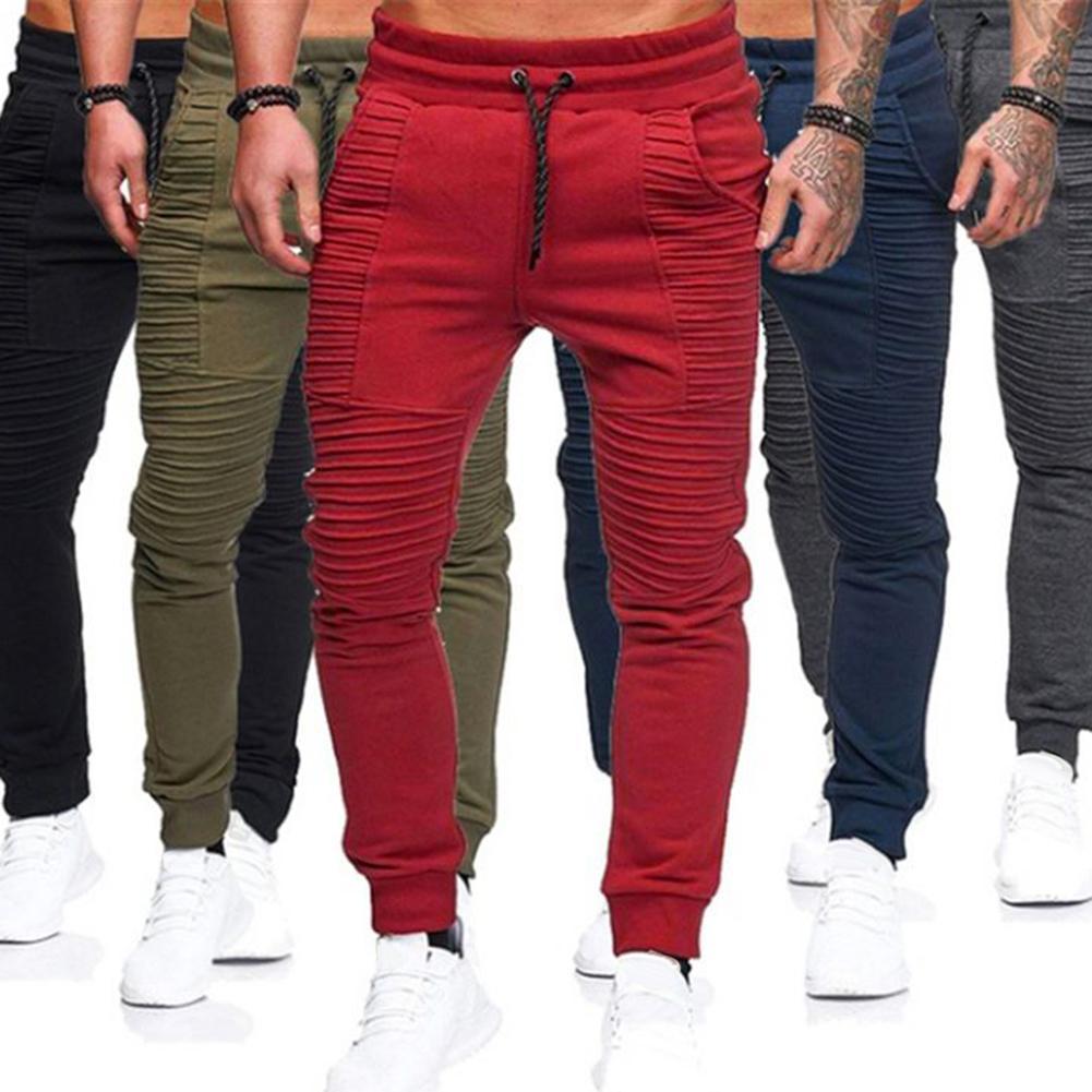 Fashion Men Solid Color Drawstring Elastic Waist Sport Pleated Pants Trousers Elastic Waist Sport Pleated Pants Trousers