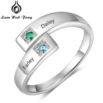 Personalized Birthstone Ring Custom Couple Ring for Women Engraved 2 Names Ring Adjustable Promise Jewelry Gift(Lam Hub Fong) ailin 925 silver personalized birthstone ring for women arabic custom engraved name ring wedding couple unique christmas jewelry