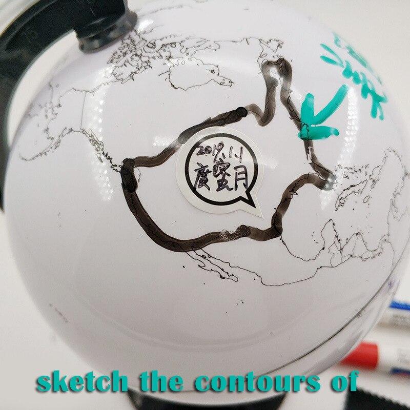 Paintable and Erasable Globe Model Plastic Erasing World Map Drawing Tellurian DIY Teaching Implement with 4 Brush FKU66