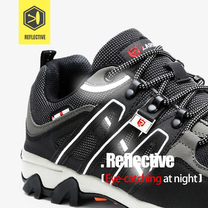 LARNMERN erkek çelik ayak iş güvenliği ayakkabıları hafif nefes Anti-smashing anti-delinme kaymaz yansıtıcı sneaker