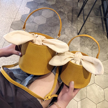 Parents and children lovely bucket bag ladies new bow knot single shoulder inclined handbag K ip de bags  handbags
