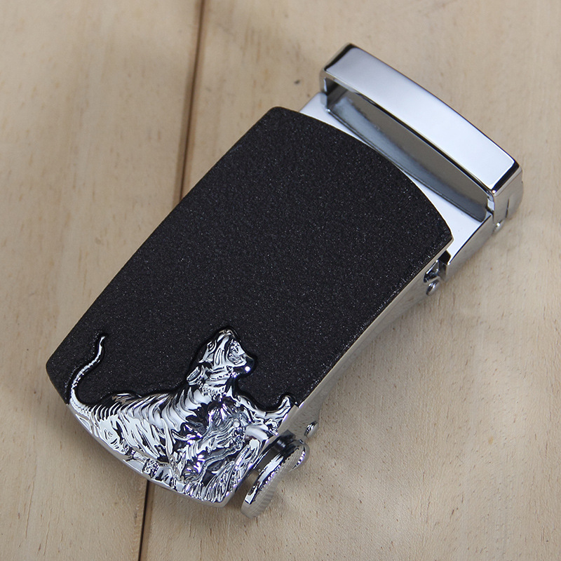 Fashion Men's Business Alloy Automatic Buckle Unique Men Plaque Belt Buckles 3.5cm Ratchet Apparel Accessories Tiger Head Belts