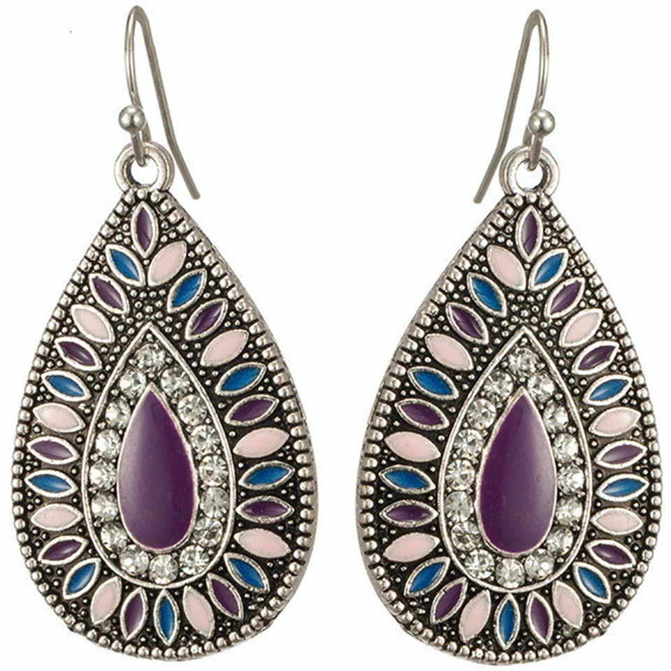 2019 New Ethnic Water Drop Style Bohemia Tassels Oil Painting Purple Earrings For Women Vintage Earring Indian Jewelry Gifts