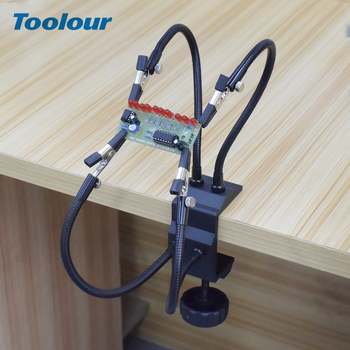 Toolour Soldering Station Holder Desk Clamp PCB Alligator Clip Multi Soldering Helping Hand Third Hand Tool For Welding Repair