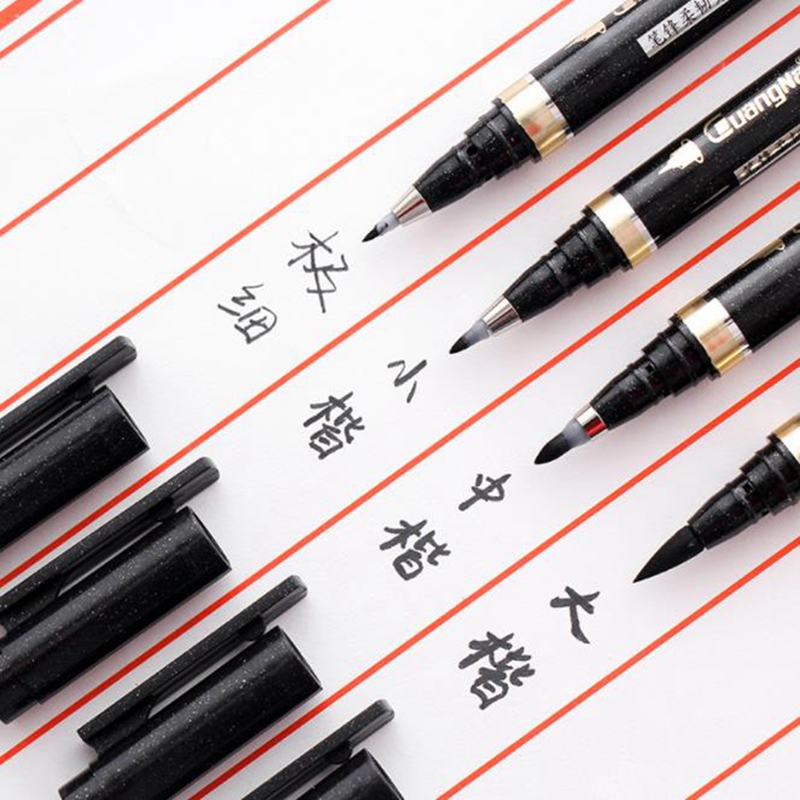 3/4 Pcs Chinese Calligraphy Brush Pen Refillable Black Hand Lettering Pens Markers Art Writing Office School Supplies Stationery