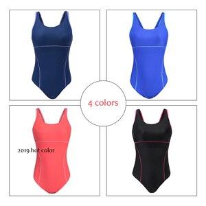 Image 4 - Riseado 여성을위한 새로운 2019 스포츠 수영복 경쟁 수영복 원피스 수영복 솔리드 레이서 백 수영복