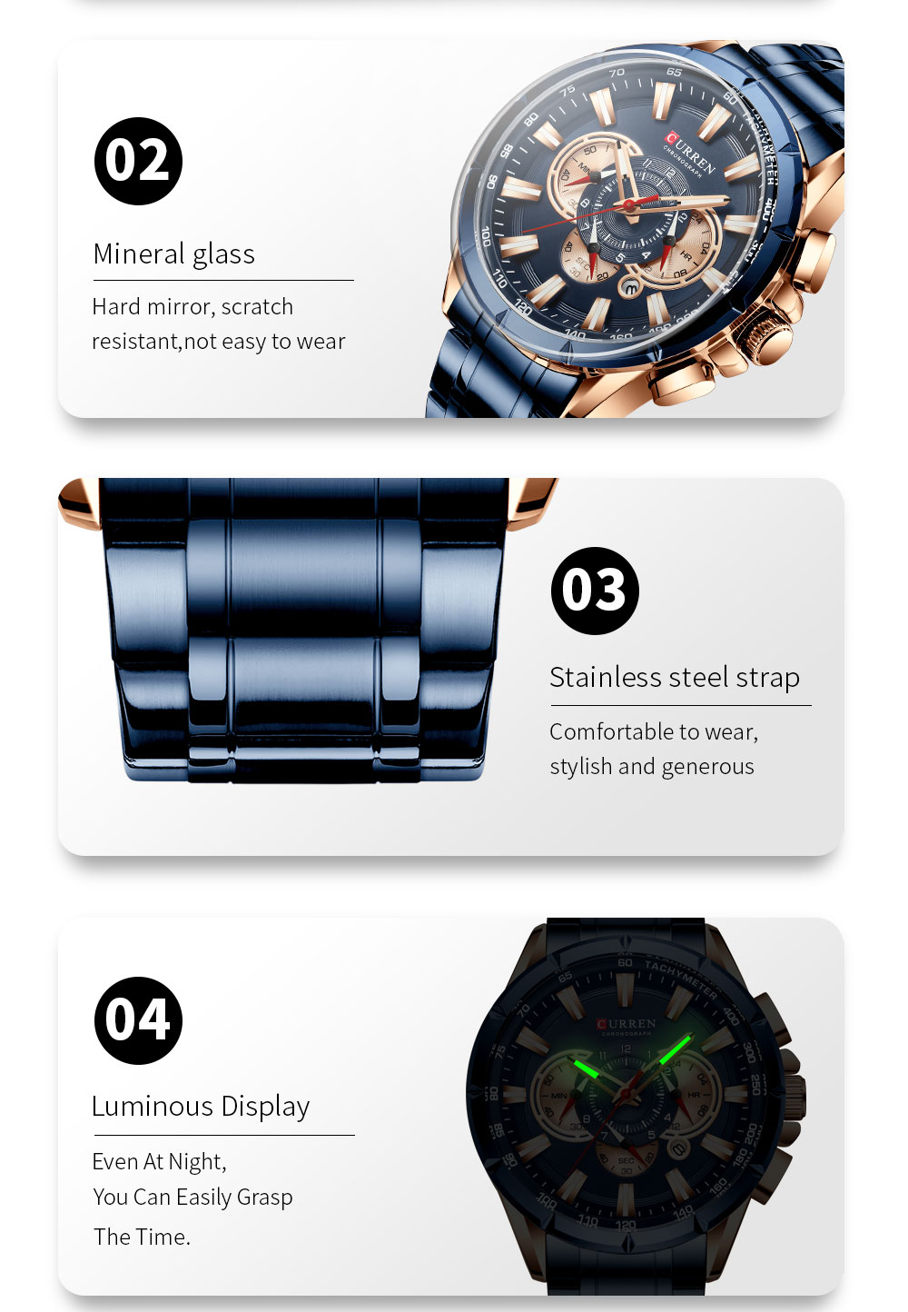 CURREN 8363 Fashion Men Watches 9