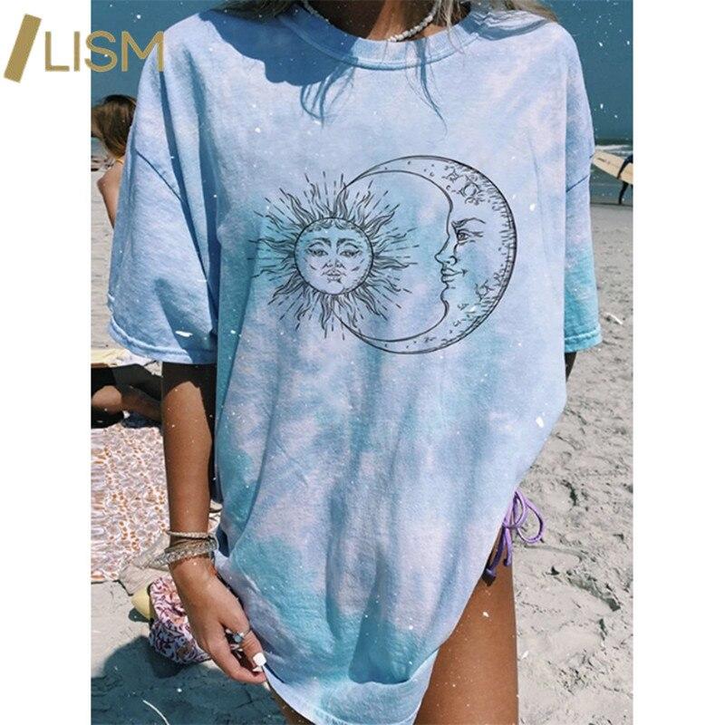 Impressão de letras harajuku gráfico t camisas verão tie dye y2k camiseta rosa azul sol lua padrão manga curta camisetas