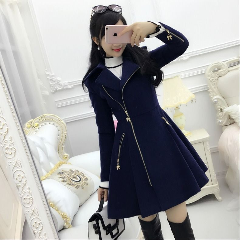 2020 Autumn Winter Women Coats Dark Blue Lady Coats Zipper Long-sleeved Woolen Coat Women's Mid-length Slim Winter Women