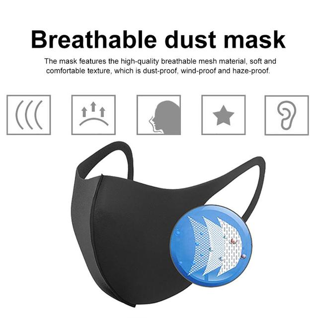 Net Red Star With The Same Mask Ms. Autumn Winter Breathable Dust-proof Anti-haze Washable Black Sponge Mask Proof Flu Face Mask 1