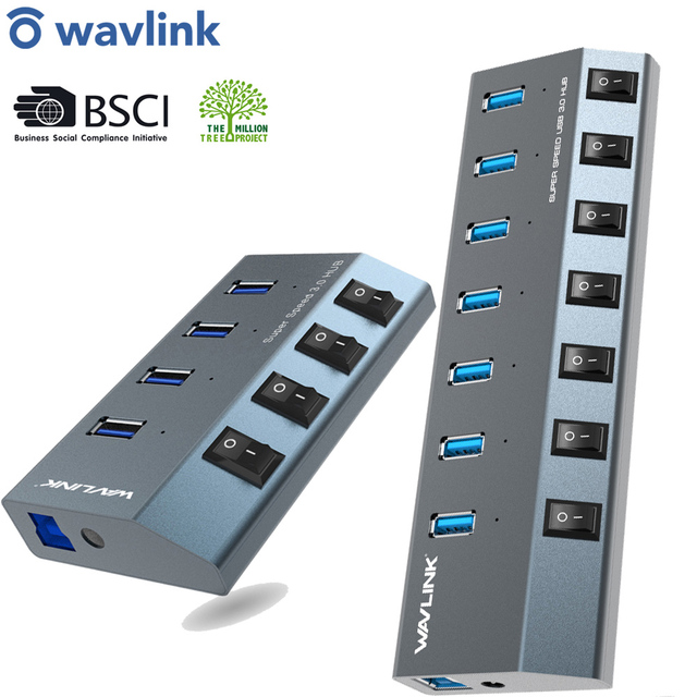 Wavlink USB רכזת 3.0 במהירות גבוהה 4/7 יציאות מיקרו USB 3.0 Hub ספליטר על/כיבוי עם כוח מתאם עבור MacBook Pro מחשב נייד מחשב