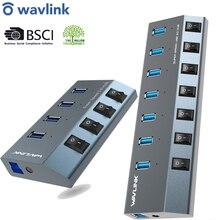 Wavlink USB Hub 3,0 High Speed 4/7 Ports Micro USB 3.0 Hub Splitter Auf/Off Schalter Mit Power Adapter für macBook Pro Laptop PC