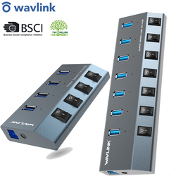 Wavlink USB Hub 3.0 High Speed 4/7 Ports Micro USB 3.0 Hub Splitter On/Off Switch With Power Adapter for MacBook Pro Laptop PC
