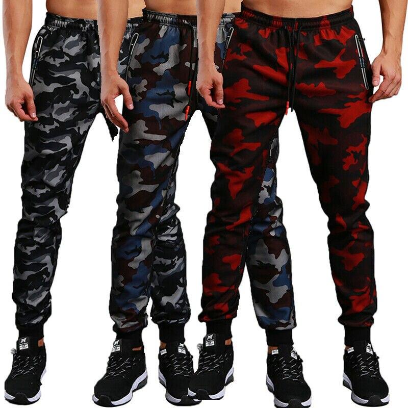 2019 Hirigin Men Joggers Workout Gyms High Waist Camo Pants Elastic Camouflage Sweatpants Skinny Trousers NEW